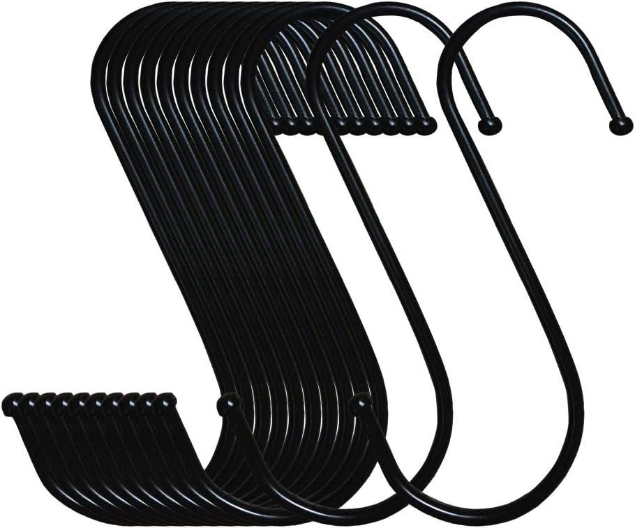 LOYMR 10 Pack 4.7 Inches Extra Large S Shape Hooks Heavy-Duty Metal Hanging Hooks Apply Kitchenware Bathroom Utensils Plants Towels Gardening Multiple uses Tools(Black)