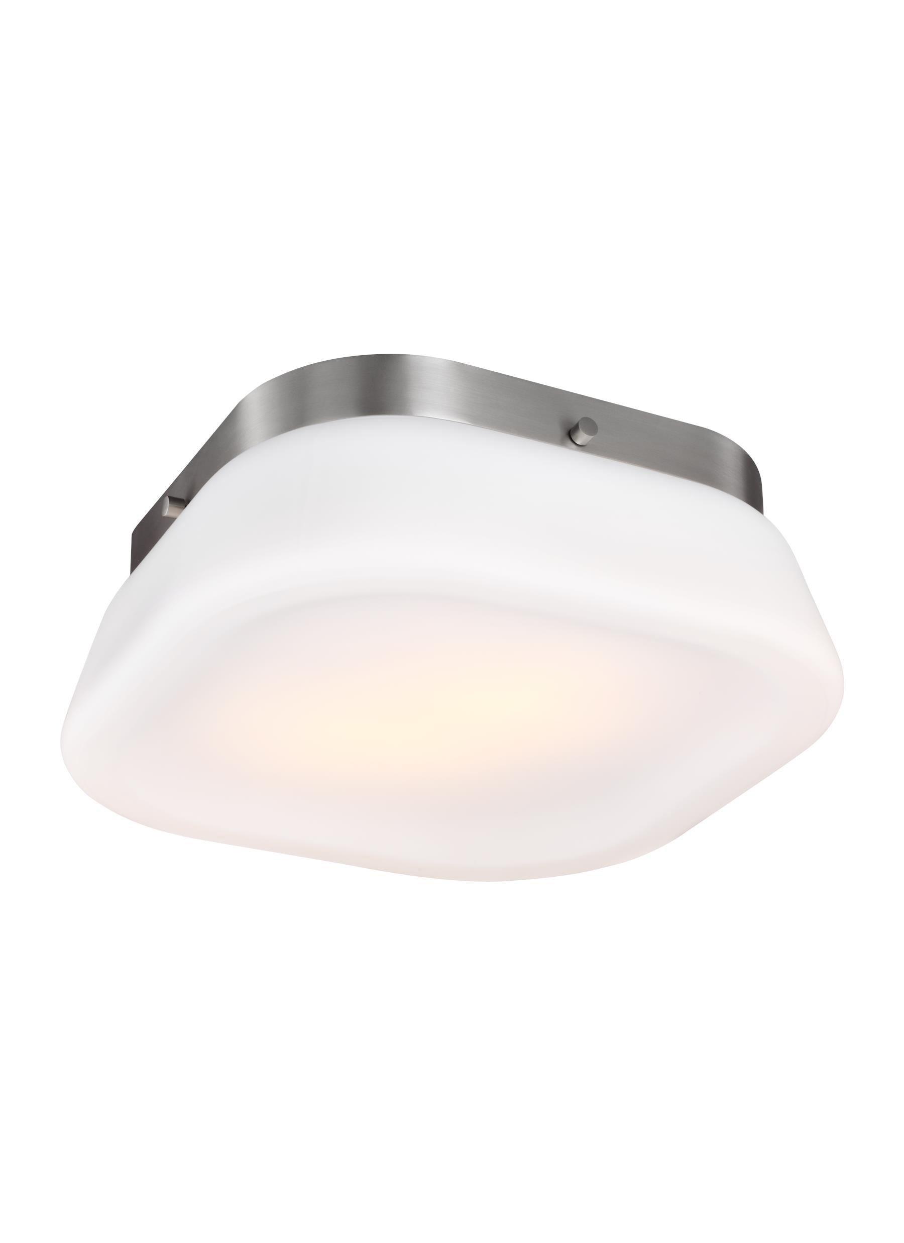 Feiss FM503SN Saul Glass Flush Mount Ceiling Lighting, Satin Nickel, 2-Light (13''Dia x 5''H) 120watts