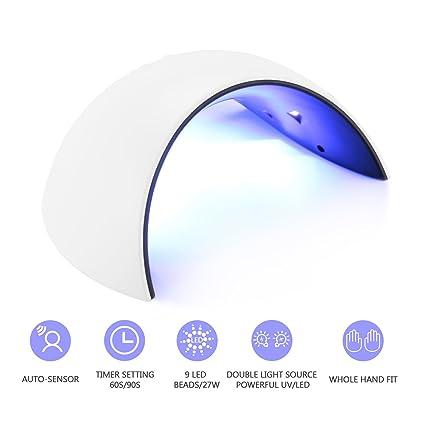 Lámpara de Uñas,JBSON 27W UV LED Lámpara Secador de Uñas Gel con Temporizador 60S
