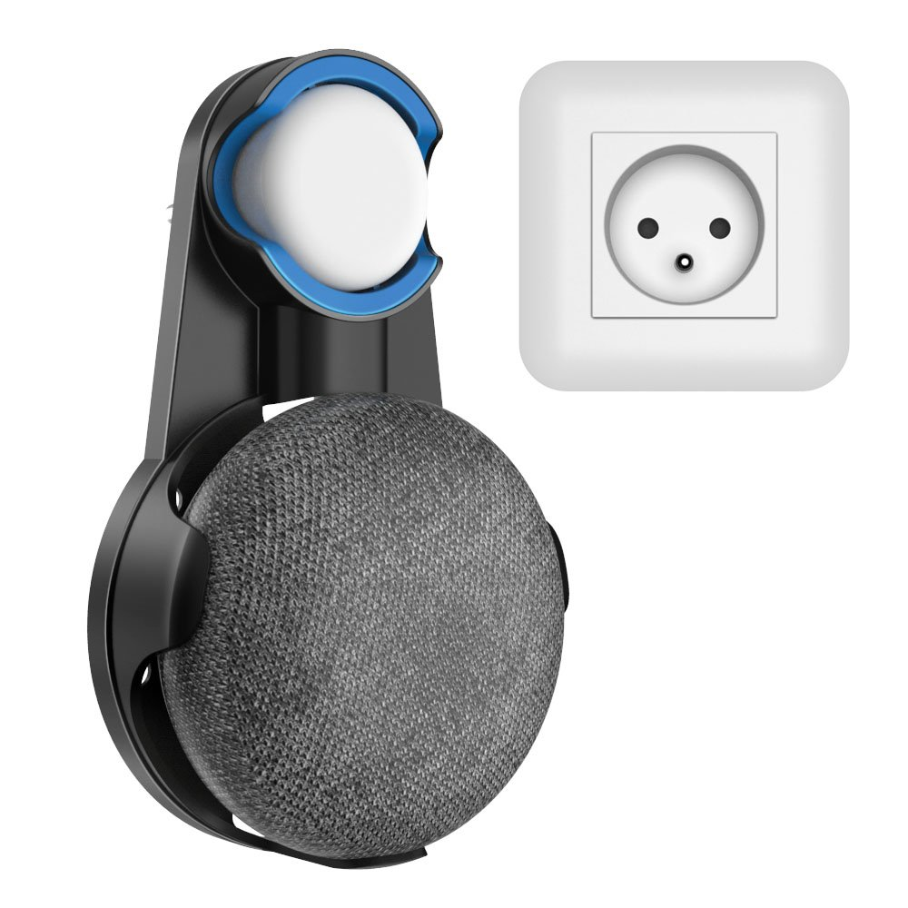 SPORTLINK Socket Wall Mount Stand Hanger for Google Home Mini Voice Assistants, Compact Holder Case Plug in Kitchen Bathroom Bedroom, Hides the Google Home Mini Cord (Bianco) ST05-WH