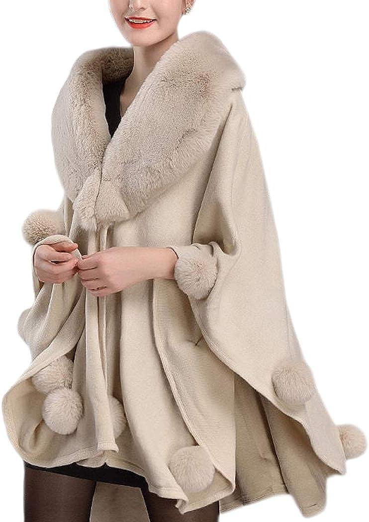 Women Shawl Fur Wool Poncho Cloak Winter Warm Coat Jacket Cape Parka Outwear USA