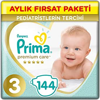 Prima Bebek Bezi Premium Care, 3 Beden, 144 Adet, Midi Aylık Fırsat Paketi