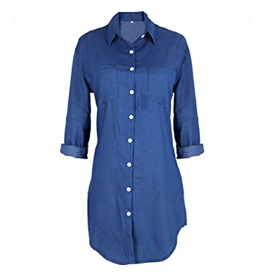 c860cbebdef Luxsea Women's Long Sleeve Vintage Jeans Long T-Shirt Denim Mini Dress