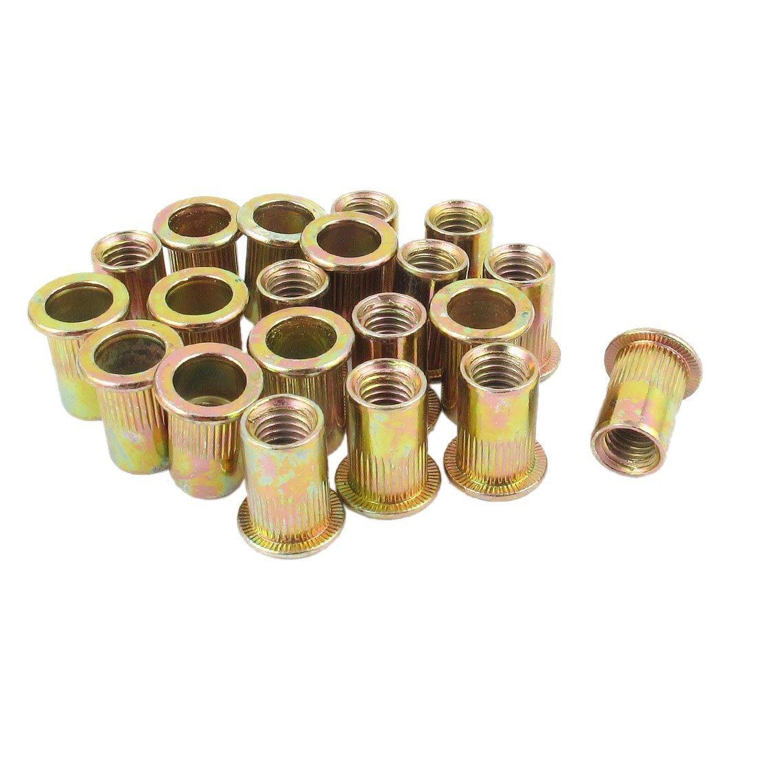 20 piezas M8 tuercas metricas de acero de cabeza plana de insercion de ciego TOOGOO Tuercas R