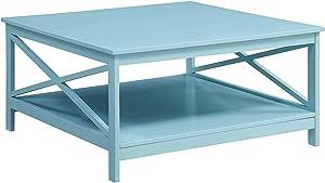 """Convenience Concepts Oxford 36"""" Square Coffee Table, Sea Foam"""