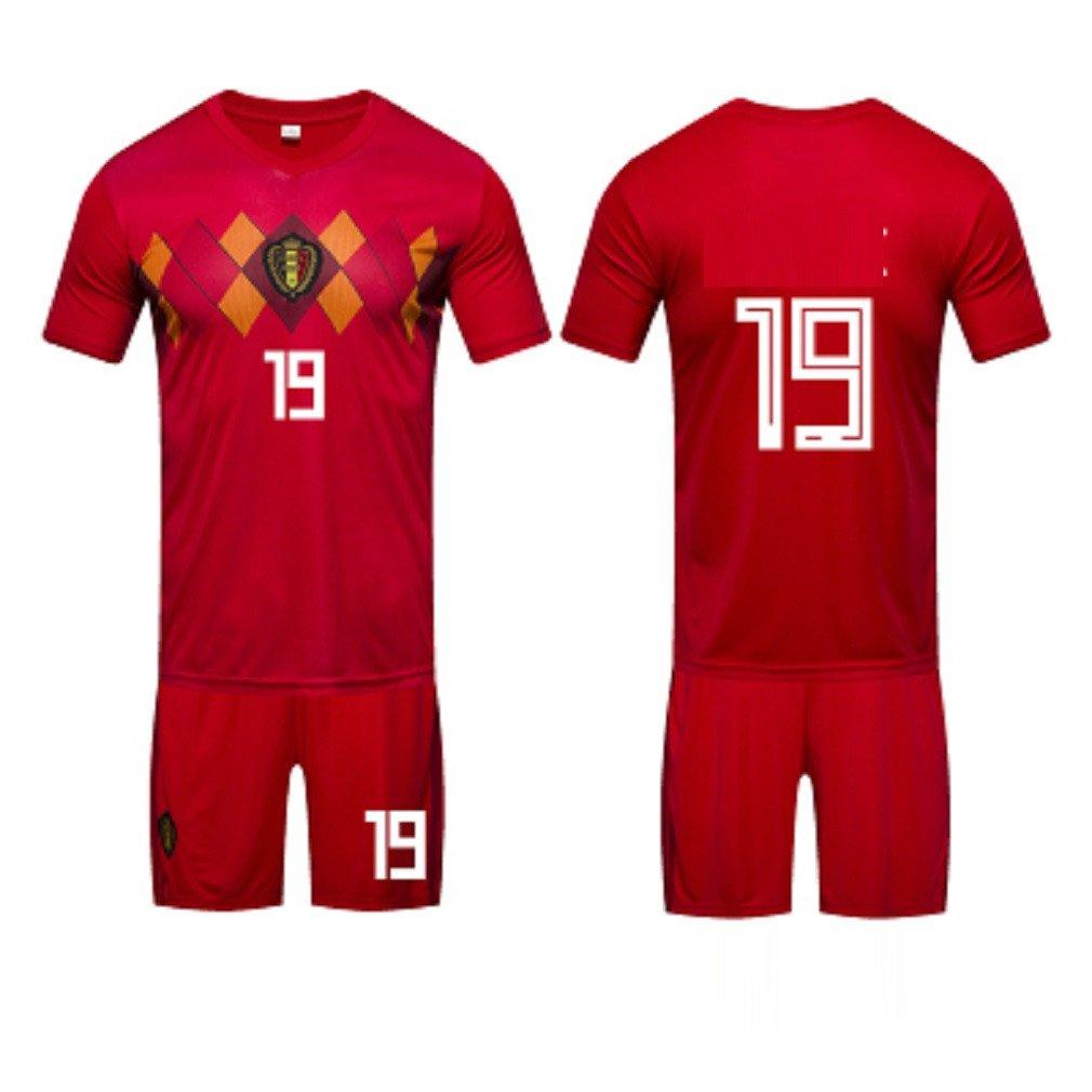 1 pack Belgium, 2018 Football Home Jersey, ShortSleeved Football Uniform Team Uniform Male Adult Training Suit, 19,Soccer Game