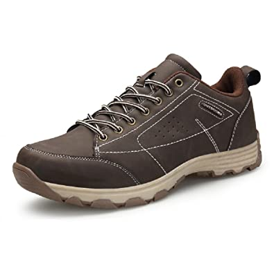 Amazon.com | Hafiot Hiking Shoes Mens Waterproof, Walking Lightweight Outdoor Trekking Summer Low Leather Black Brown Khaki 6.5-12 | Hiking Shoes