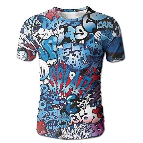 Edgar John Teenager Style Image Wall Street Graffiti Graphic colorful Design Artwork Men's Short Sleeve Tshirt S