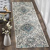 Safavieh Madison Collection MAD600C Cream and Light Grey Contemporary Paisley Runner (2'3' x 18')