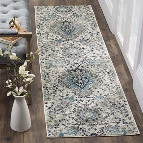 Safavieh Madison Collection MAD600C Cream and Light Grey Bohemian Chic Paisley Runner (2'3 x 22') (Runner Safavieh Rug 22')