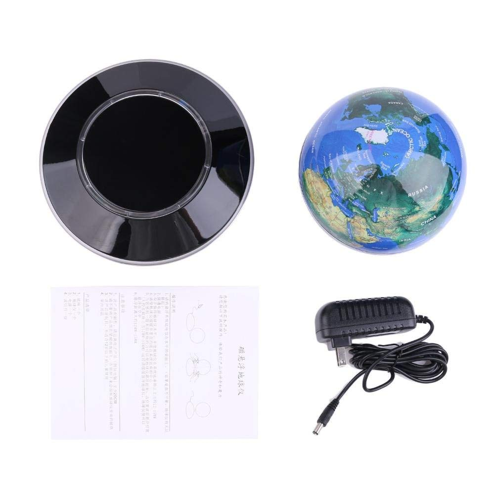 VPABES 6 Inch Magnetic Levitation Floating Globe Anti Gravity Rotating World Map with LED Light for Teaching Home Office Desk Decoration