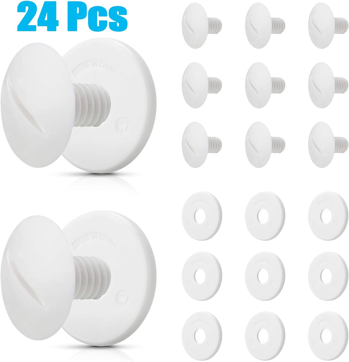 C-55 C55 Wheel Screws White Plastic Wheel Screws Compatible with Polaris Pool Cleaner 180/280 with Extra Washers Pool Cleaner Replacement Parts (24)