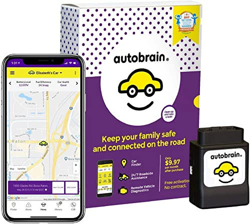 autobrain OBD Real-Time GPS Tracker for Vehicles Auto Health Diagnostics Parking Locator Car Finder Tracker Teen Senior Driver Monitoring 24 7 Emergency Assistance 1 Month of Service