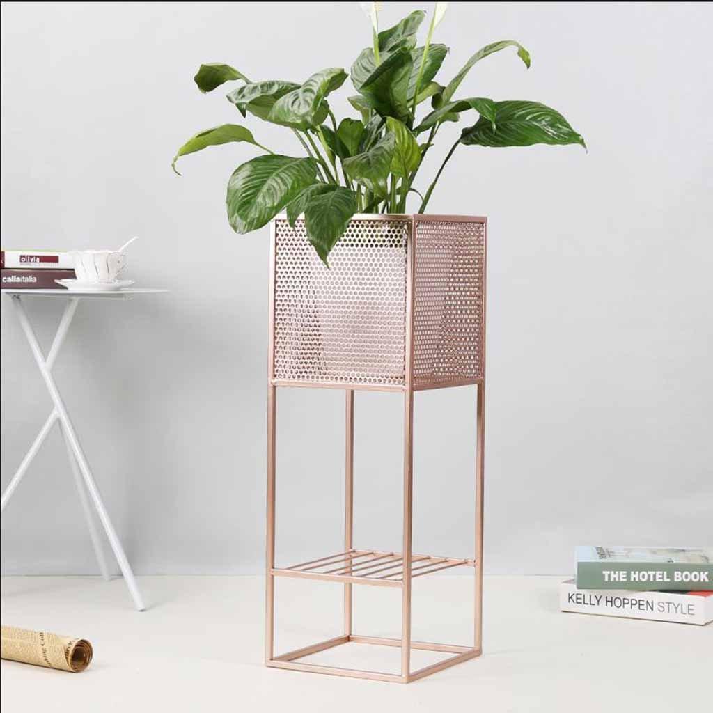Diseño simple 1 macetas Planta de tiesto Soporte de flores Sala de estar Interior de metal Soporte de piso de estilo europeo Estante de Bonsai Patio de ...