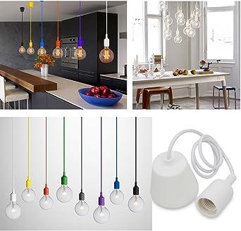 Princeway Colorido Silicona Lámparas de Techo Colgante- Portalamparas E27- Europea Moderna IKEA Estilo- Adecuado para Todos Bombillas E27- DIY Fácil Instalación para Cocina, Comedor, Sala de Estar, Habitaciones Niños y Restaurante (Blanco):