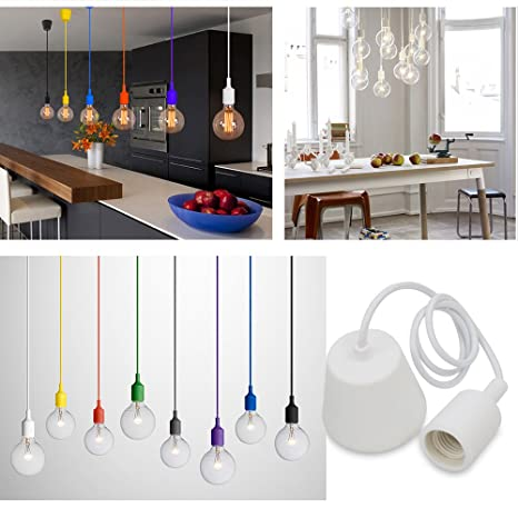 Princeway Colorido Silicona Lámparas de Techo Colgante- Portalamparas E27- Europea Moderna IKEA Estilo- Adecuado para Todos Bombillas E27- DIY Fácil ...
