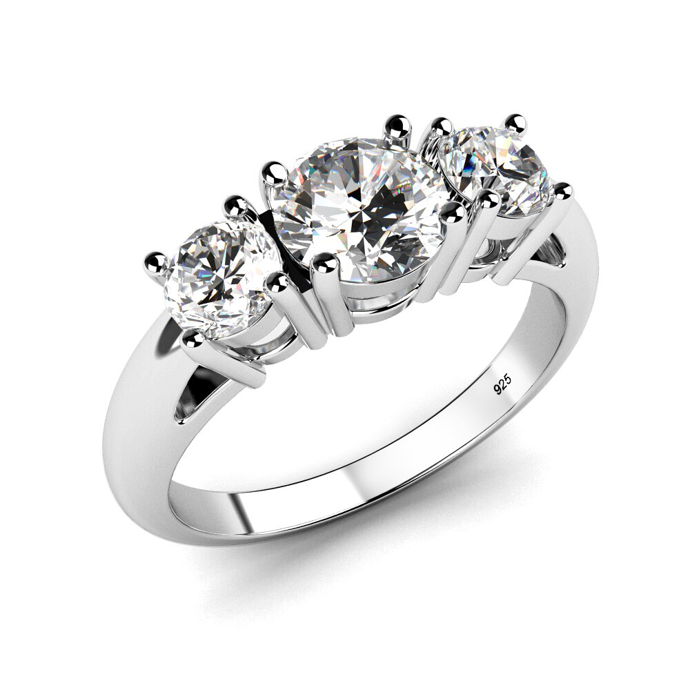 Metal Factory Sz 4 Sterling Silver 925 Cubic Zirconia CZ 3 Stone Engagement Ring