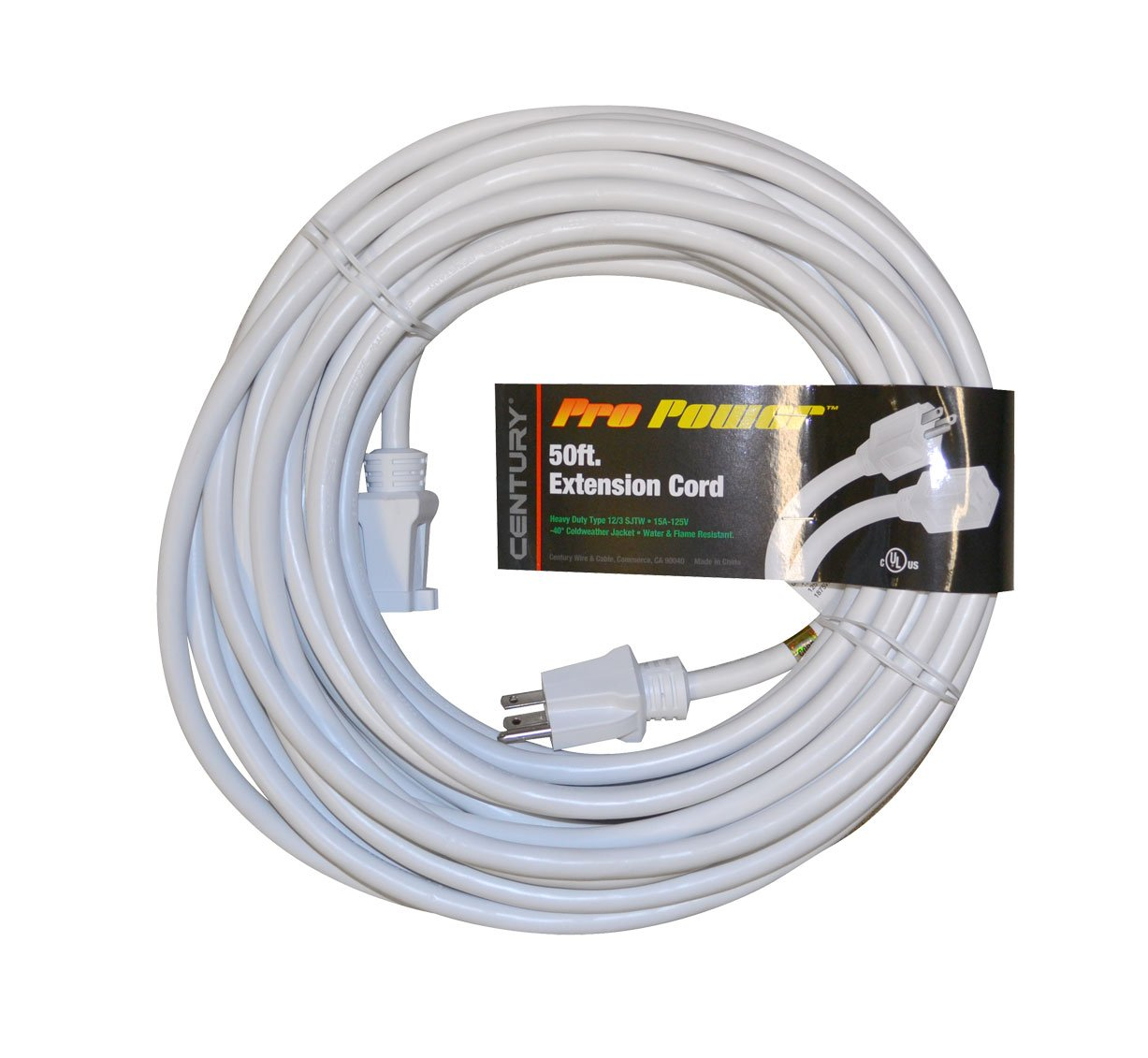 Century Wire Cable Pro Power 50 Foot White Extension Cord Wiring An