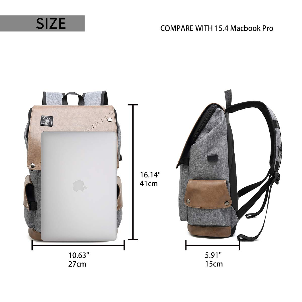 Casual Laptop Backpack, Large College School Backpack for Men&Women with USB Charging Port, Big Business Computer Bag, Khaki