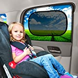 "Car Window Shade - (3 Pack ) - 19""x12"" Cling Sunshade For Car Windows - Sun, Glare And UV Rays Protection For Your Child - Baby Side Window Car Sun Shades By Enovoe"