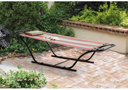 Enjoy Your Outdoor Area Garden Patio Pool with This Mainstays Folding Sling Hammock with Stand, Red