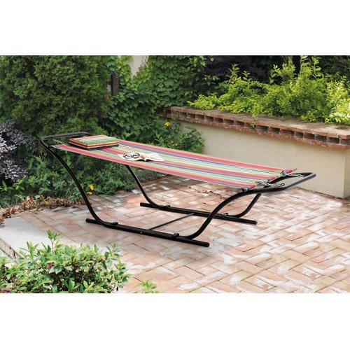 Enjoy Your Outdoor Area Garden Patio Pool with This Mainstays Folding Sling Hammock with Stand, Red ()