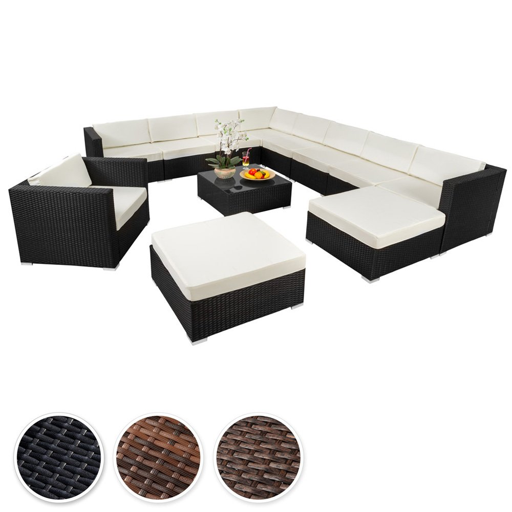 TecTake Hochwertige XXL Aluminium Poly-Rattan Lounge Sitzgruppe Set inkl. Klemmen - diverse Farben - (Schwarz | Nr. 401508)