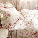 FADFAY Home Textile,Romantic Pink Rose Print Fairy Duvet Cover,Sweet Vintage Floral Girls Princess Bedding Set,Cute Korean Falbala Ruffe And Lace Bed Cover Set
