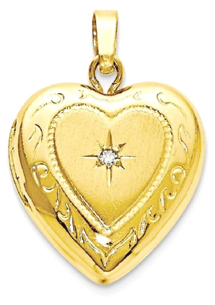 ICE CARATS 14kt Yellow Gold 13mm Heart Locket Pendant Charm Necklace