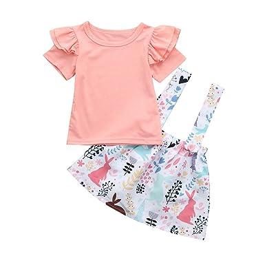 Amazon.com: Fineser Baby Girls Short Sleeve Solid Tops+Rabbit Print ...