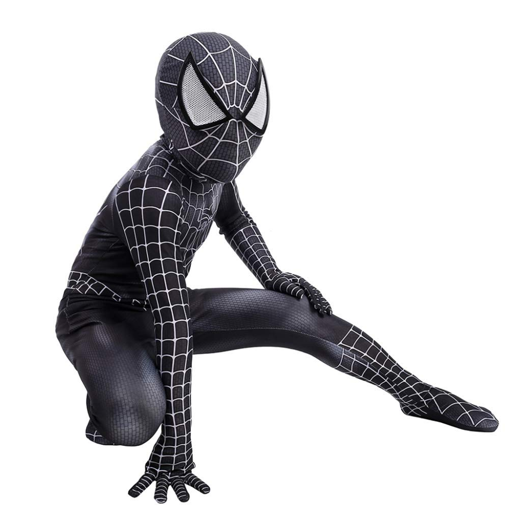 Enfant X-grand WEGCJU Collants Venom Spider Man Cosplay Costume d'halFaibleeen Ball Film VêteHommests élastiques,Enfant-L