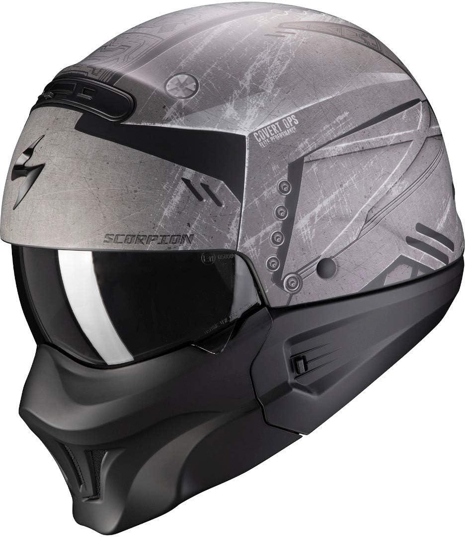 Scorpion NC Casco per Moto, Hombre, Negro/Gris, XL