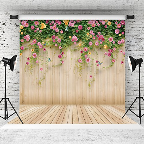 WOLADA 10x10ft Spring Wedding Backdrop Flower Wood Photography Backdrop Prop for Children Wedding Lover Photo Studio Props 8909 ()
