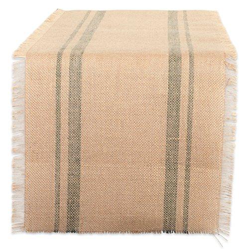 DII CAMZ38411 Border Burlap Table Runner, 14x72, Double Stripe Artichoke