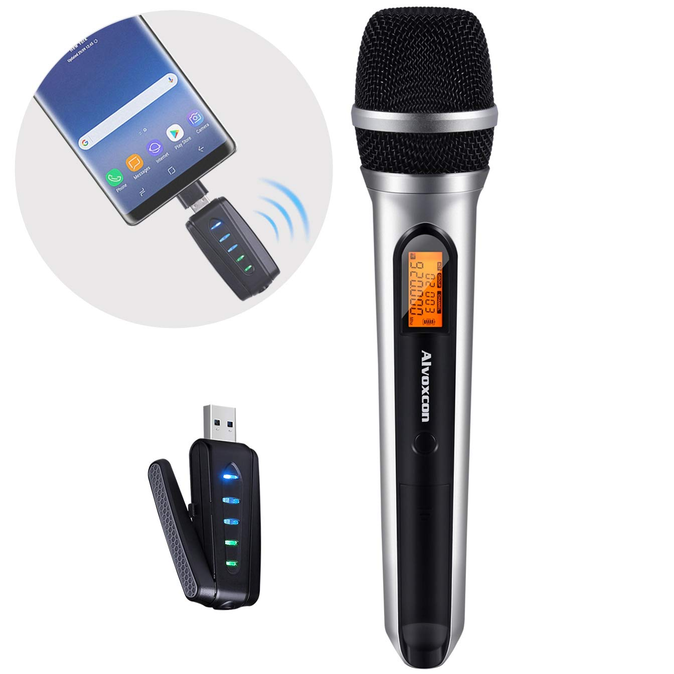 USB Wireless Microphone,Alvoxcon UHF Unidirectional mic for Smartphone,PC computer,Laptop,PA, Podcasting,Conference,Vlogging,Youtube,Vocal Recording,Karaoke Singing,Gaming (System with USB Receiver)