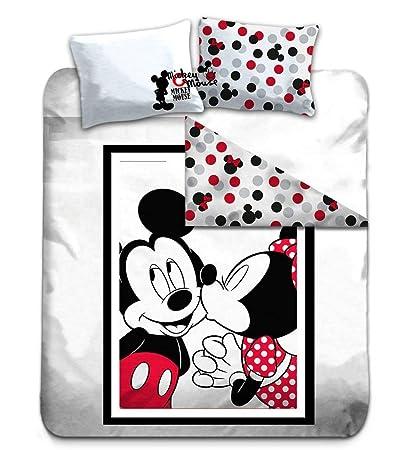 Copripiumino Minnie E Topolino Matrimoniale.Disney Mickey Minnie Copripiumino Matrimoniale 200x200 Cm 100 Cotone