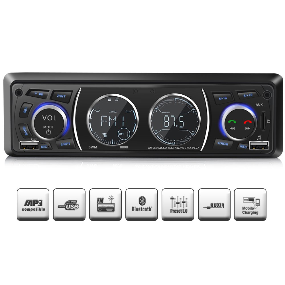 Car Stereo with Bluetooth, Single Din Universal Car Radio,USB/TF/FM/WMA/MP3 Player,Wireless Remote Control Included