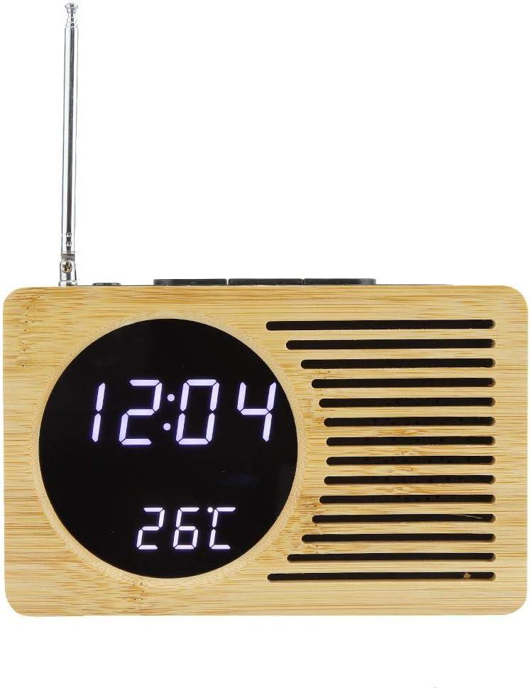 Raguso Bambus Mehrzweck USB Digital LED Wecker Zeit Temperaturanzeige FM-Radio f/ür Home Office Wohnzimmer Schlafzimmer Desktop-Dekoration