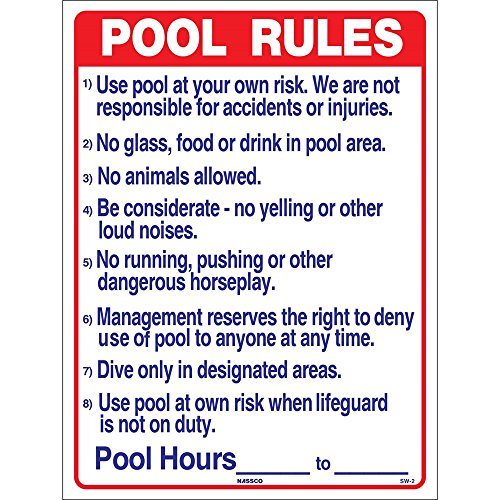 National Stock Sign SW-2 Commercial Pool Rules Sign, 18 by 24-Inch