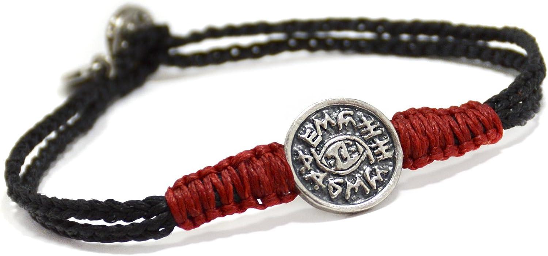 Men's Black & Red Evil Eye Protection Silver Charm Bracelet for Men - 8 Inch Men Button Clasp