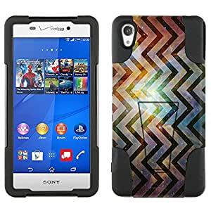 Sony Xperia Z3v Hybrid Case Cosmic Vertical Chevrons on Nebula 2 Piece Style Silicone Case Cover with Stand for Sony Xperia Z3v