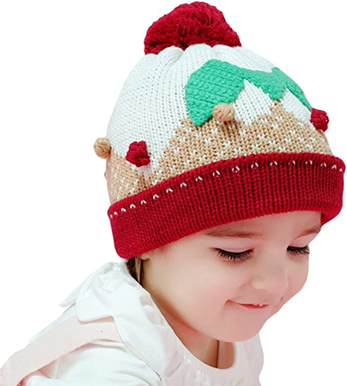 Tortor 1Bacha Infant Baby Kid Girl Boy Pom Pom Leaf Knit Cuffed Beanie Bobble Hat