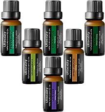 URbeauty Essential Oils, Upgraded 6 Aromatherapy Essential Oil Diffuser Essential Oils 100% Pure Lavender, Peppermint, Sweet Orange, Eucalyptus, Tea Tree, Lemongrass Essential Oil Gift Set 10ml/each
