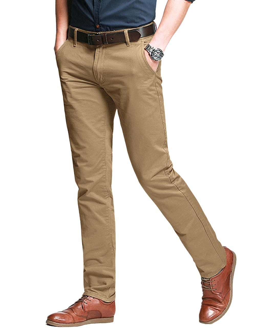 Match Men's Fit Tapered Stretchy Casual Pants (32W x 31L, 8106 Khaki) by Match