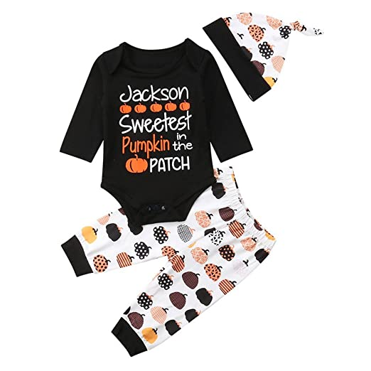 f0ee9e9eecb 3PCS Infant Baby Toddler Boys Girls Halloween Pumpkin Patch Outfits Costume  (Black