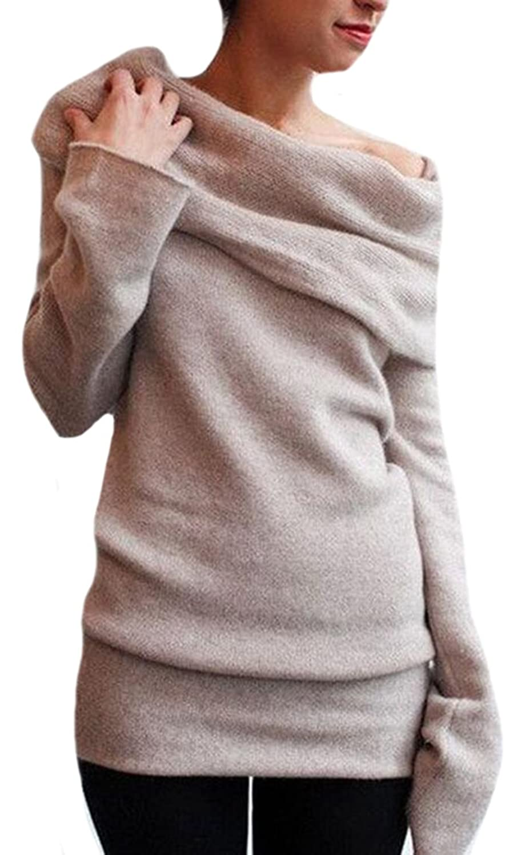 Vska Women's Long-Sleeved Sweater Casual Top Blouse T-Shirt