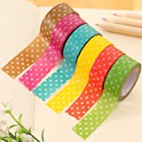 MFINHOME 6 Rolls Dot Print DIY Decorative Adhesive Sticker Masking Paper Roll Tape