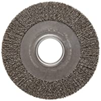 "Weiler Trulock Medium Face Wire Wheel Brush, Round Hole, Steel, Crimped Wire, 8"" Diameter, 0.014"" Wire Diameter, 2"" Arbor, 1-3/8"" Bristle Length, 1"" Brush Face Width, 4500 rpm"