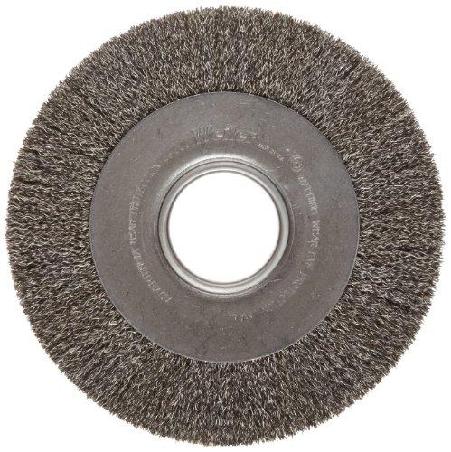Weiler Trulock Medium Face Wire Wheel Brush, Round Hole, Steel, Crimped Wire, 8
