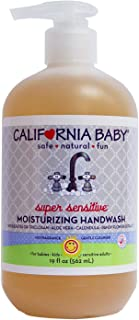product image for California Baby Super Sensitive Moisturizing Hand Wash (19 ounces) | 100% plant-based | No Fragrance | Gentle Cleanser with Pure Essential Oils | Skin Soft Calendula Extract